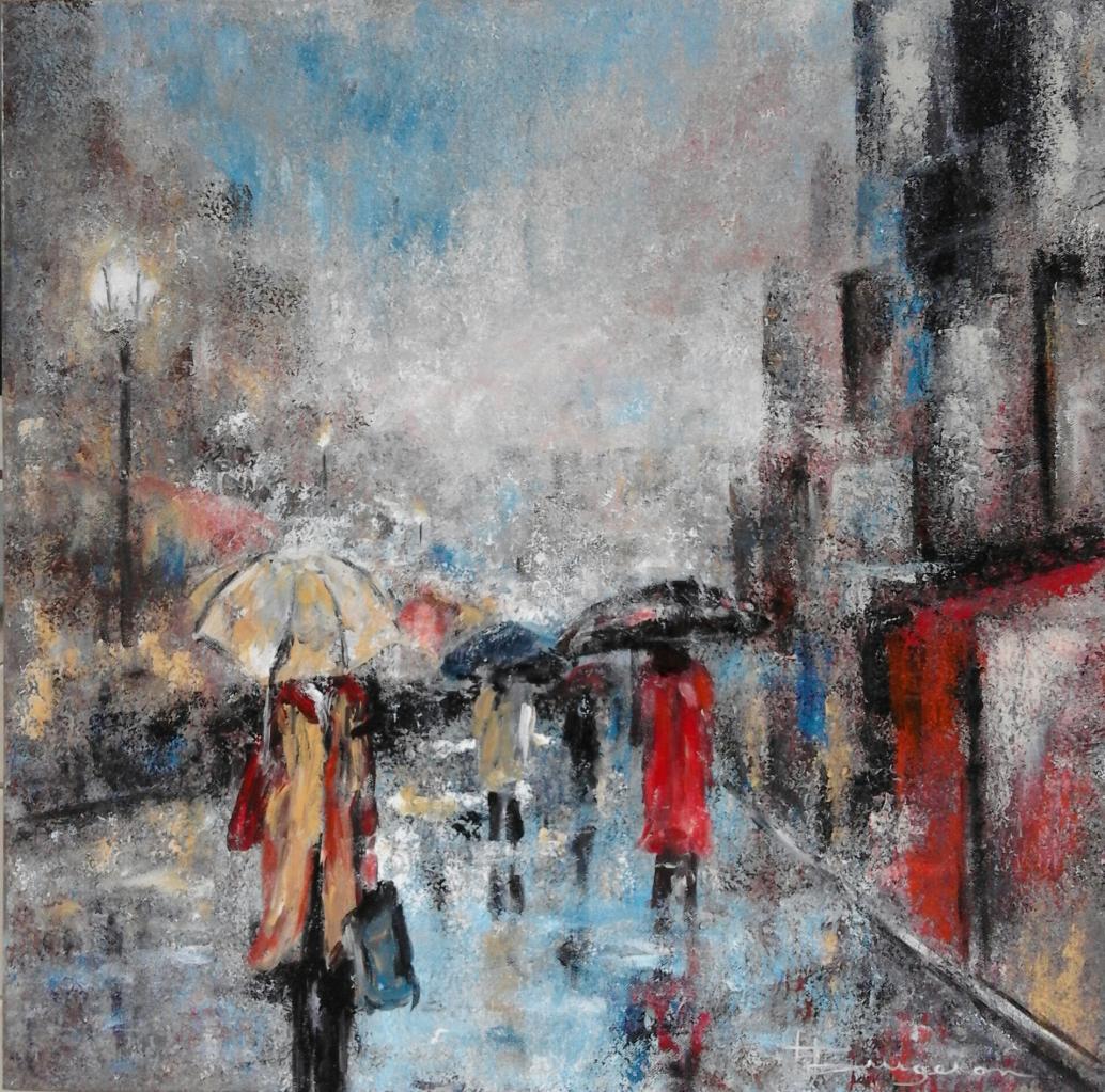 promenade sous la pluie (60X60)