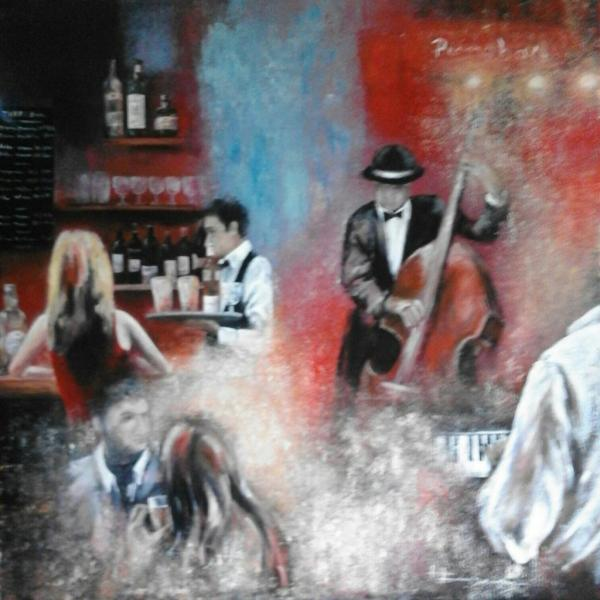 scène de piano bar  (80 X 80)