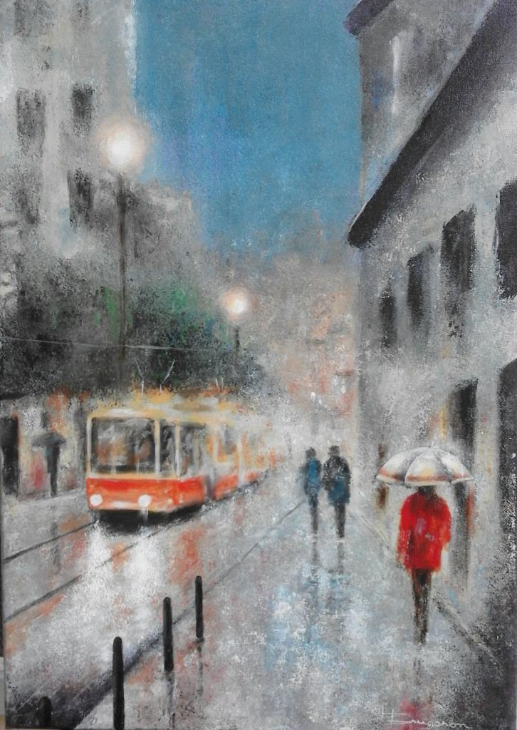 scène de pluie et tramway (50X70)