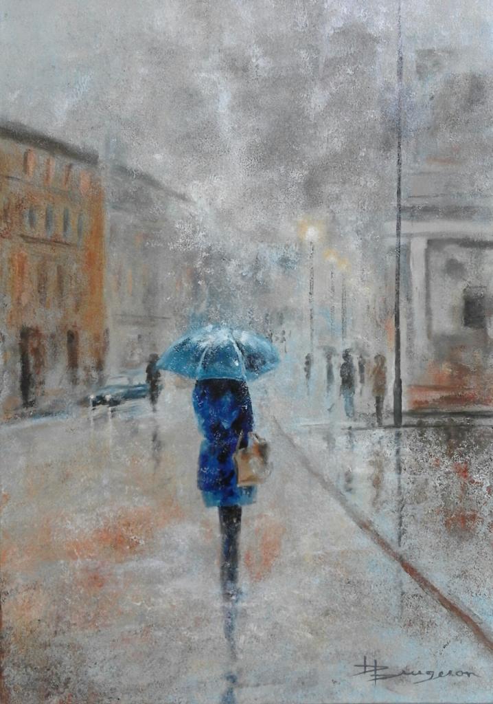 le parapluie bleu (50X70)