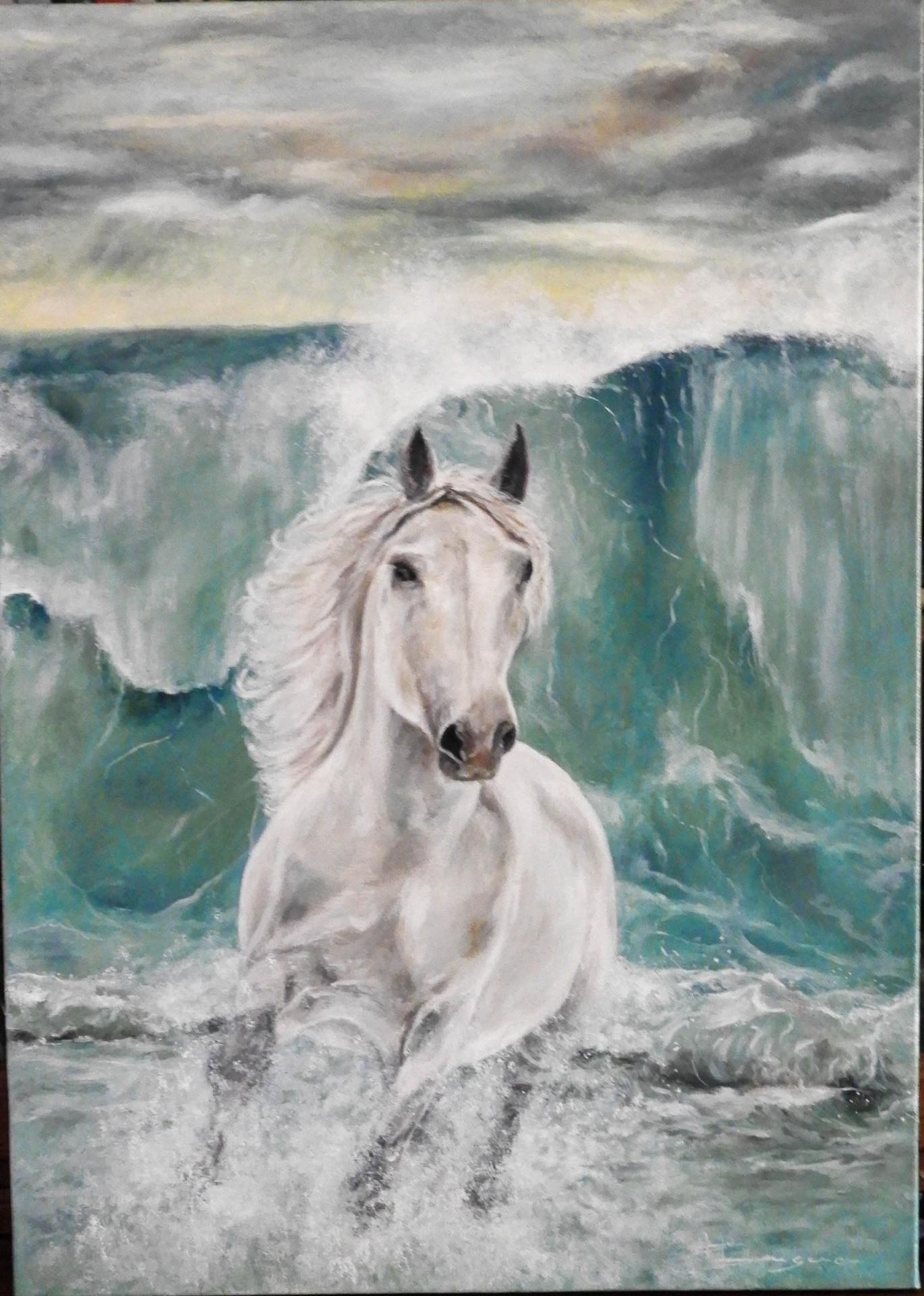 le cheval blanc et la vague