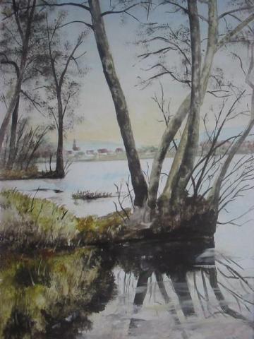 reflet hivernal (20X30)  aquarelle