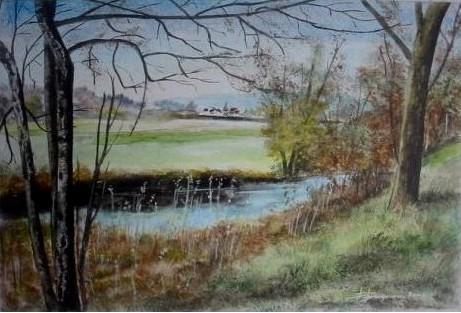 campagne hivernale (30X20)  aquarelle