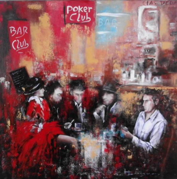 "Scène de bar ""poker club"" (80X80)"