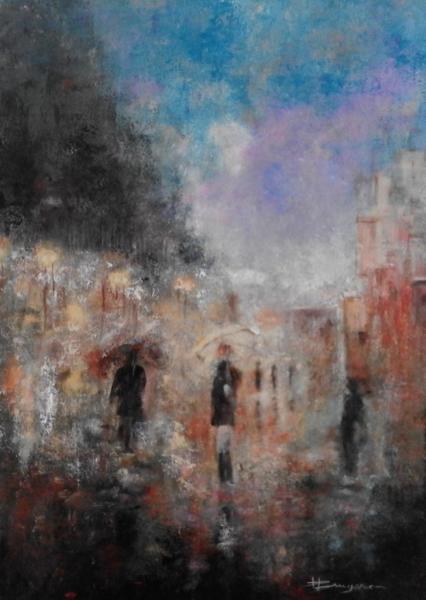scène de rue un soir sous la pluie (50X70)