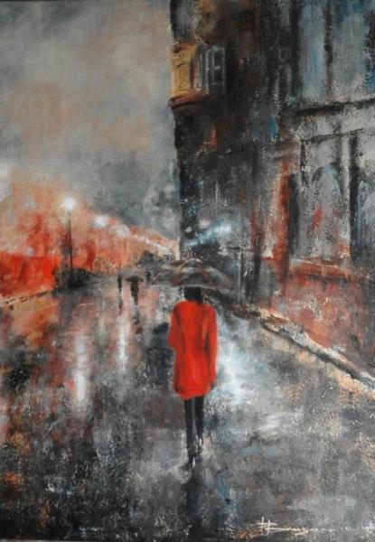 la femme au manteau rouge (50X70)