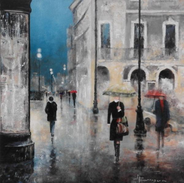 scène de rue sous la pluie (80X80)