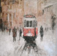 Le tramway rouge (60X60)