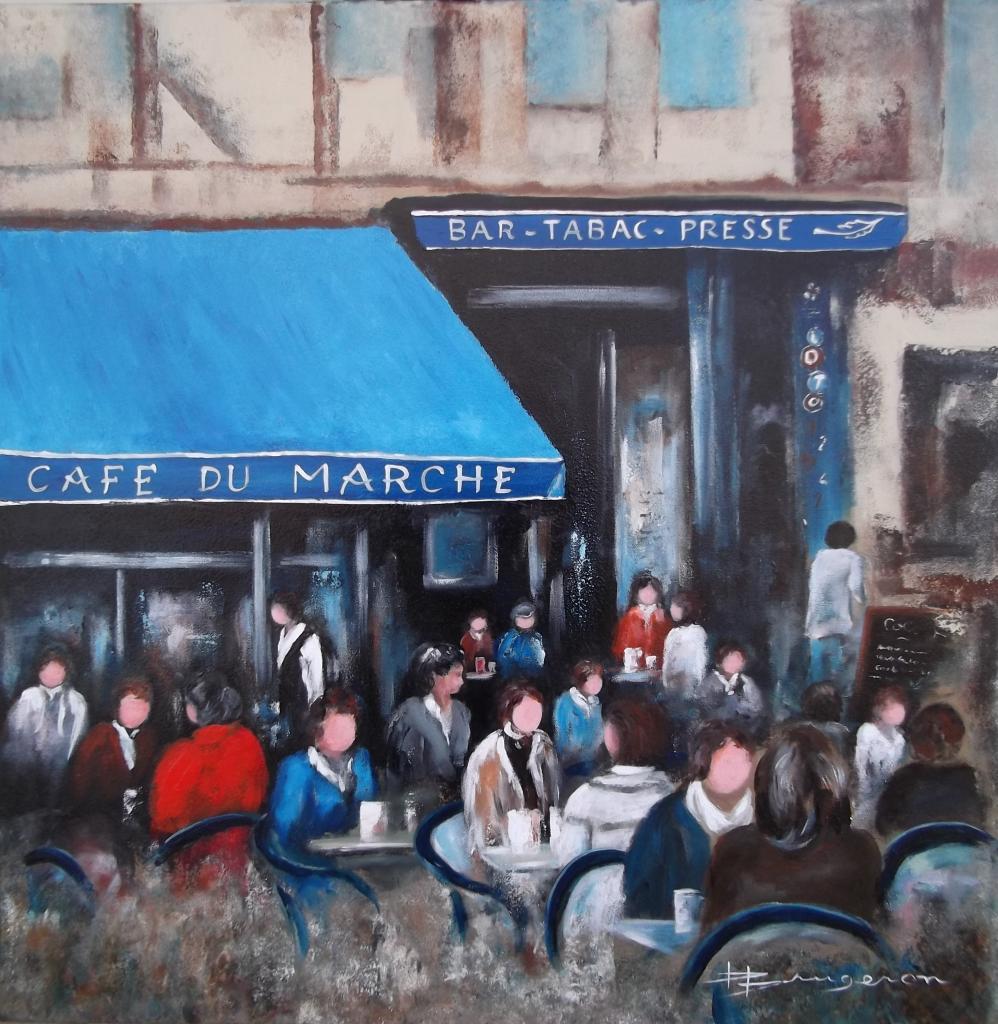 scène de terrasse -Café du marché- (80X80)