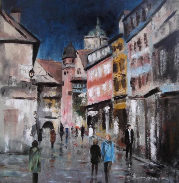 """Scène de rue """"Eguisheim"""" (80X80)"""