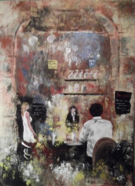 """Scène de bar """"la rencontre"""" (50X70)"""