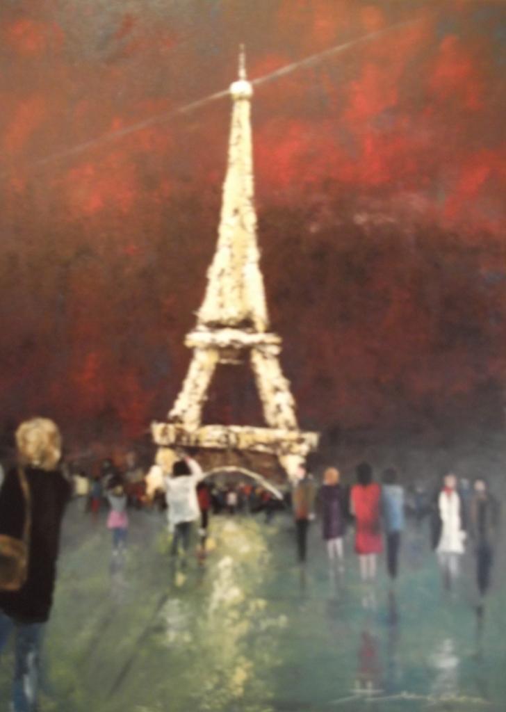 la tour Effel de nuit -vue du Trocadéro- (50X70)