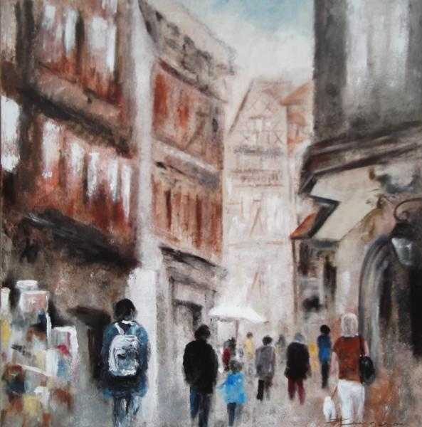 "Scène de rue ""Colmar"" 80X80"